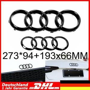 Glanz Schwarz Emblem Ringe V+H Kühlergrill  Für Audi A3 A4 A5 273*94+193x66MM