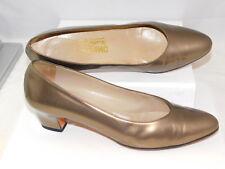 "Salvatore Ferragamo Women's 10 AA Narrow  Bronze Leather 2"" Low Pump Shoes Italy"