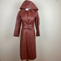 Vintage 7/8 Leather Trench Coat Brown Hooded Long Buttons Belted Lined Womens 2