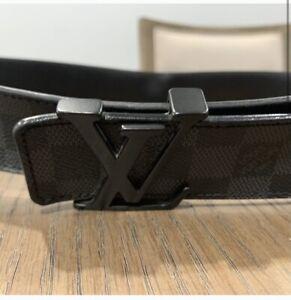 Louis Vuitton Mens Damier Graphite Belt Black Size 90/36 100% AUTHENTIC