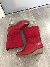 Cougar Red Winter Boots Heel Sinch Top Size 9M