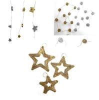 Gold Silver Wire Mesh Wicker Ball Star Garland Window Christmas Tree Decoration