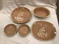 9 Pc Harkerware Springtime Dinner Plates Harker Pottery MCM Tan Plates Bowls +