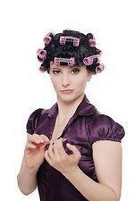Fasching Karneval Halloween Perücke Damen Hausfrau Lockenwickler schwarz 4204