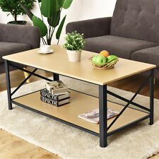 Wood Coffee Table Cocktail Side Accent Table Metal Frame w/ Storage Shelf New