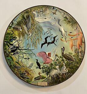 Springbok 1965 Vintage WATER BIRDS Circular Wood Round Jigsaw Puzzle 1 p missing