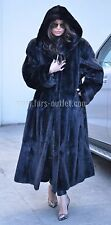 NEW BLACK ROYAL MINK FUR LONG SWINGER COAT HOOD CLAS SABLE CHINCHILLA FOX JACKET