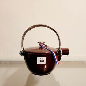 Staub Enameled Cast Iron Round Tea Kettle Tea Pot 1.0Qt Grenadine NEW
