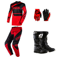 ONeal Element Red motocross off-road dirt bike - Jersey Pants Gloves Boots combo