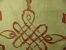 2 Nina Campbell Portavo Fabric Remnant 100% Linen Cushion Upholstery Red Natural