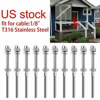 "Stainless Steel T316 Swage Threaded Tensioner End Fitting 1/8"" Cable Railing X50"