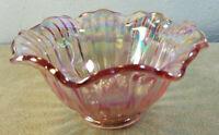 "Vintage Pink Carnival Glass Bowl Scalloped Rim Ribbed Design 6 1/2"" Dia"