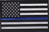 "USA Flag Blue Line 3"" Patch American Flag Blue Line Patch Police NEW USA SHIPPER"