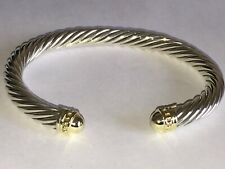 $1250 DAVID YURMAN 14K GOLD, SILVER MENS CABLE BRACELET MEDIUM