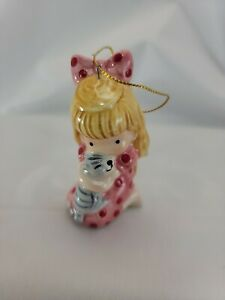 Vintage Joan Walsh Anglund Ceramic Girl With Kitty Cat Christmas Ornament 1982