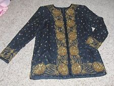 Stunning black silk beaded long-sleeve top,gold accent Sz XL