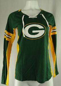 Green Bay Packers NFL Majestic Women's Lace-Up T-Shirt