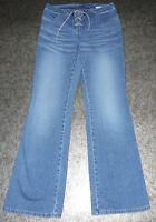MAC Jeans W28 L32 Gr. 38 Schnür Bänder Latz Besatz Bootcut hell blau Stretch