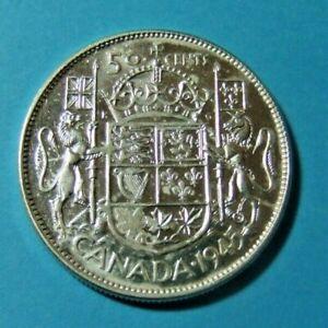 1945 WIRE RIM Canada Silver 50 Cent Coin - HIGHER GRADE