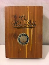 Vintage Union Made USA Wooden Holy Bible Case Carpenters Religious Box ~ Church