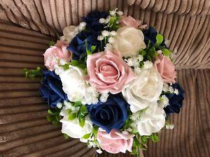 Wedding Flowers Bridesmaids Medium Posy Bouquet  Dark Navy & Blush Pink