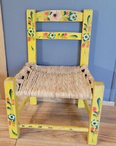 Vintage Childs/Dolls Chair, Folk-Art, Farmhouse, Country, Boho, Cottage  Decor