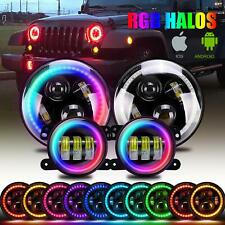 "DOT 7"" LED RGB Halo Headlights Hi/Lo + Fog Light Combo Kit For Jeep Wrangler JK"
