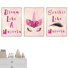 Set of 3 Unicorn Nursery Prints Wall Room Decor Art Baby Girl Room Pictures