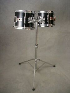 "YAMAHA 5000 SERIES 8 & 10"" BLACK TOM DRUMS WITH STAND"
