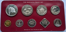 Bahamas 1981 Piedfort Flag Box Proof Set of 9 Coins,Rare!