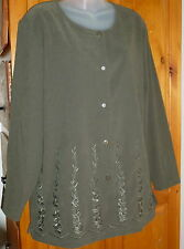 JANE ASHLEY Dark Green Embroidered Stretch SUEDE CLOTH BIG SHIRT ButtonDown L XL