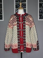 DALE OF NORWAY CARDIGAN SWEATER L 44 RED CREAM SNOWFLAKE WOOL NORDIC FAIR ISLE