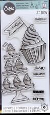 SIZZIX clear stamp set CUPCAKE GREETINGS Birthday