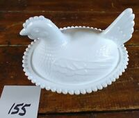 Candy Dish Milk White Glass Chicken Hen on Nest Indiana Glass Lidded Dish