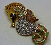 Vintage Gold Metal Rhinestone Diamante Enamel Sea Horse Design Pin Brooch