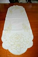 Table Runner Vintage Lilies Floral Embroidery Cream Ecru Cotton Dresser Scarf