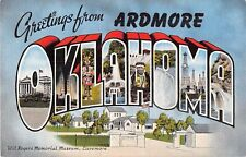 Large letter postcard Greetings from Ardmore Oklahoma OK