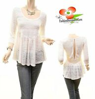 Gypsy BOHO Hippie Ruffle Lace Haute Babydoll Pullover Blouse Shirt Top S M L