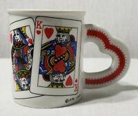 Vintage 1995 Westwood King & Queen of Hearts Cards Coffee Mug Cup Heart Handle