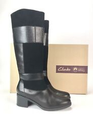Clarks Nevella Nova Black Leather Boots 8.5 M MSRP $182