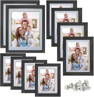 10 Pcs Multi Picture Frames Set Black Photo Frame with White Mat Wood Photograph