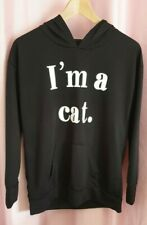 """Ladies/Girls Black Hoodie with Ears  """" I'm a Cat """"  Size M"""