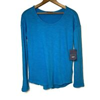 NWT GAP Long Sleeve Knit Top Blue 100% Cotton Casual Comfortable Women's Size XS