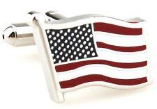 Flag USA Pair Cufflinks Waving Silver Wedding Fancy Gift Box & Polishing Cloth