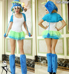 Halloween Girl Furry Three-eyed Monster Party Cosplay Carnival Stage Costume