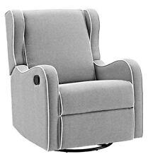 Angel Line Rebecca Upholstered Swivel Gliding Rocking Chair Recliner Gray Linen