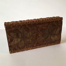 Vtg. Czechoslovakia Hand Carved Layered Wooden Trinket Box Tramp Art 1940s