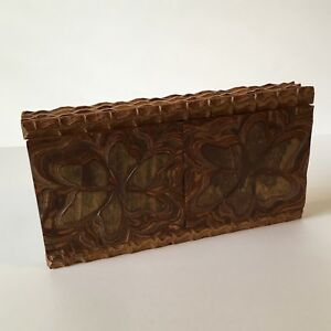 Vtg. Czechoslovakia Hand Carved Layered Wooden Trinket Box Tramp Art 1940s