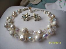 VENDOME AB Crystal & Faux Pearl Necklace & Earring Set