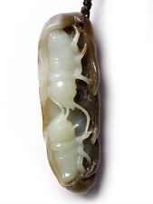 Natural Hetian Nephrite Jade Carving: Crickets Fighting Pendant w/ certificate